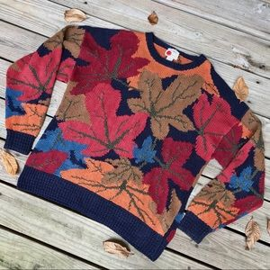 Other - VINTAGE Autumn Leaf Hand Knit Sweater